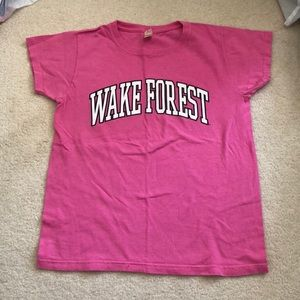 Wake Forest university pink T-shirt by Anvil
